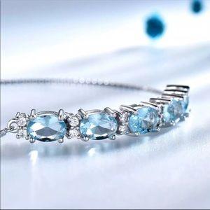 Jewelry - Natural Blue  Topaz Sterling Silver Bracelet